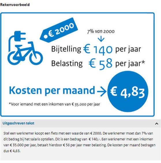 fiets van de zaak rekenvoorbeeld